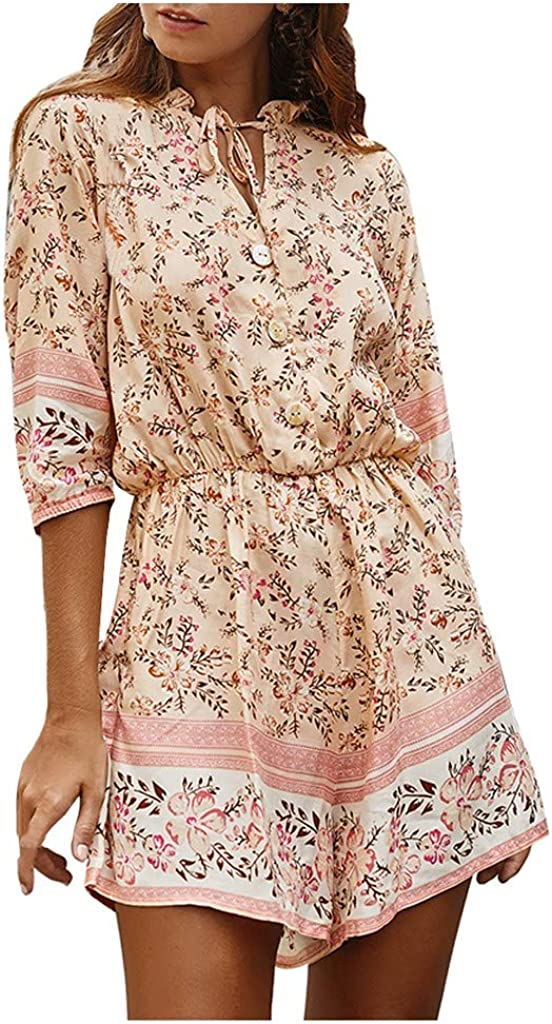 Kiminana Sweet Floral Print Loose Mini Rompers Women Fashion Summer Comfy Cotton Jumpsuits Beach Style Playsuit