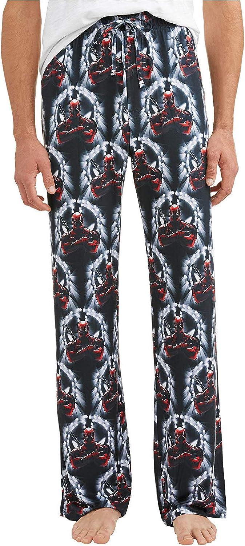Mens Womens NEW Marvel Deadpool Light Gray Pajama Lounge Pants
