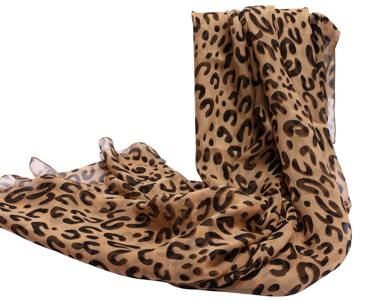 Fashion Leopard 100% Silk Long Scarf Wraps Lightweight Sunscreen Shawl Scarves for Women 98'' X 25''