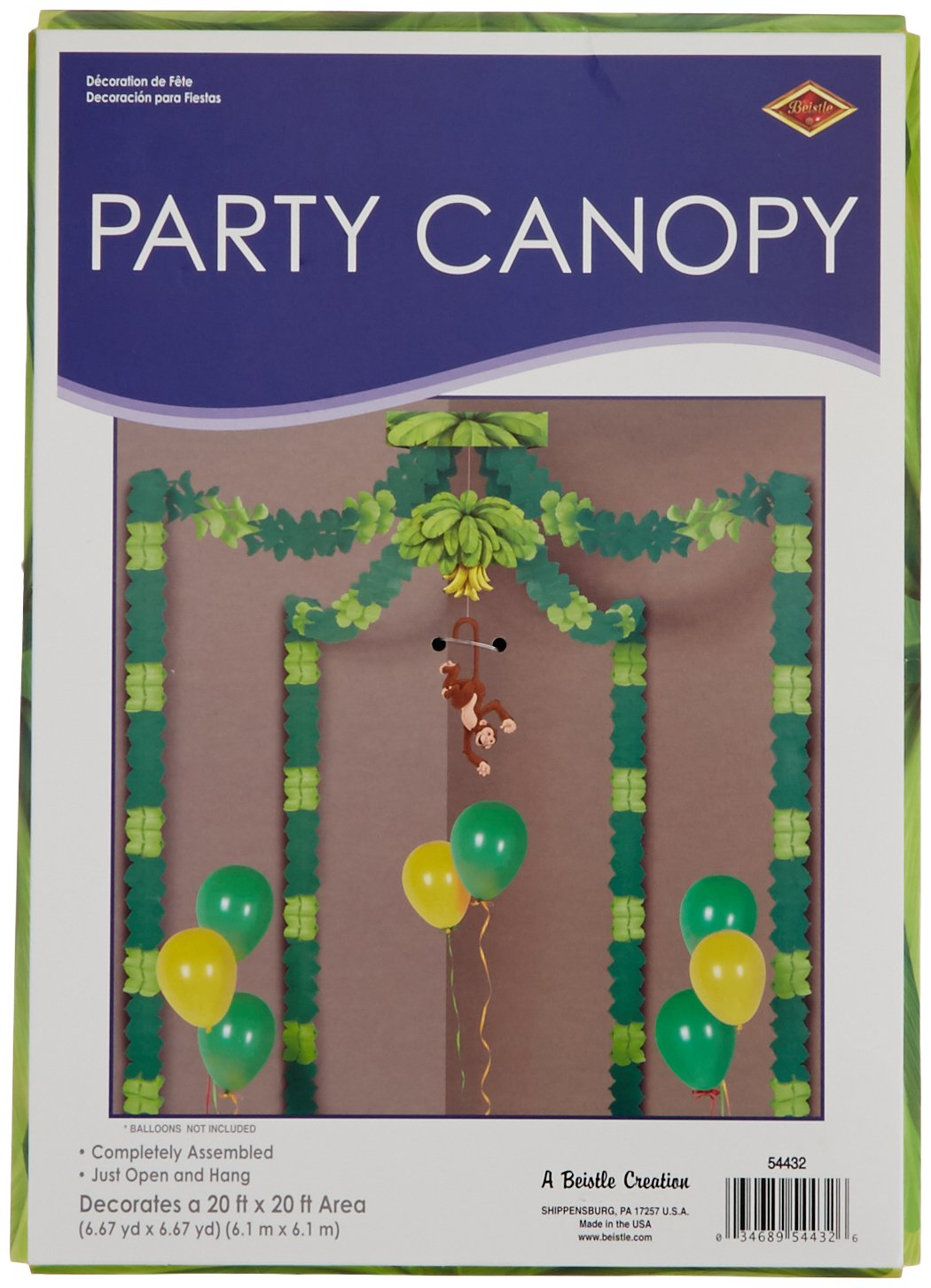 Beistle S54432AZ2, 2 Piece Jungle Monkey Party Canopies, Green Light Green