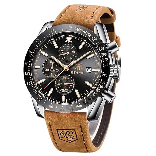 c0f3450d11c1f Prime Soldes Day BY BENYAR - Montre chronographe pour Homme   Mouvement à  Quartz   Montre