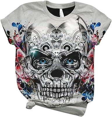 waotier Camiseta con Estampado de Calaveras Camiseta de Cuello Redondo de Manga Corta para Mujer Blusa Multicolor para Camiseta Casual de Halloween ...