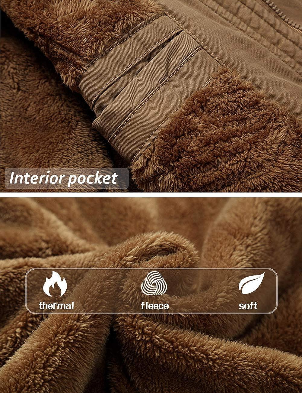 TACVASEN Hommes Veste Militaire Vintage Veste Hiver Chaude Décontracté Coton Coupe-Vent Veste Outdoor Cargo Blouson avec Capuche Kaki