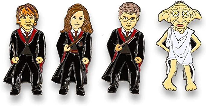 HARRY POTTER Enamel Pin 4-Pack - Hermione | Dobby | Harry | Ron