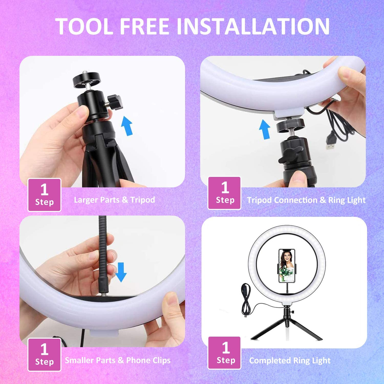Dimmable Desk Make up Ring Light for Photography AOBISI LED Ring Light 10 with Tripod Stand /& Phone Holder for Live Streaming /& YouTube Video Shooting with 3 Light Modes /& 10 Brightness Level