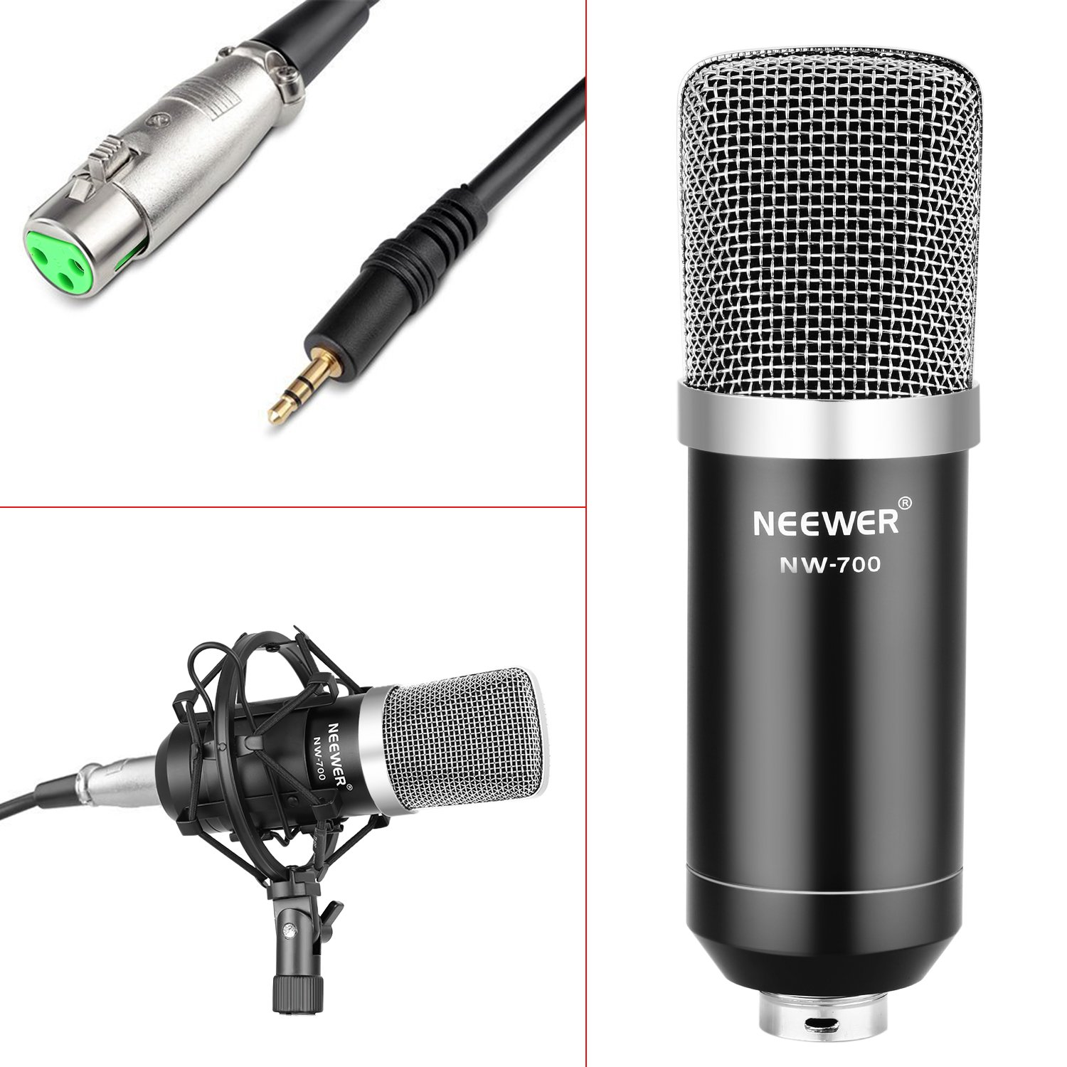 Neewer NW-700 Professional Studio Broadcasting Recording Condenser Microphone & NW-35 Adjustable Recording Microphone Suspension Scissor Arm Stand with Shock Mount and Mounting Clamp Kit by Neewer (Image #3)