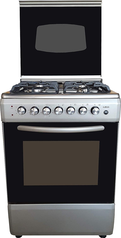 Cocina LAREL plateado/inoxidable 60 x 60 4 fuegos con horno ...