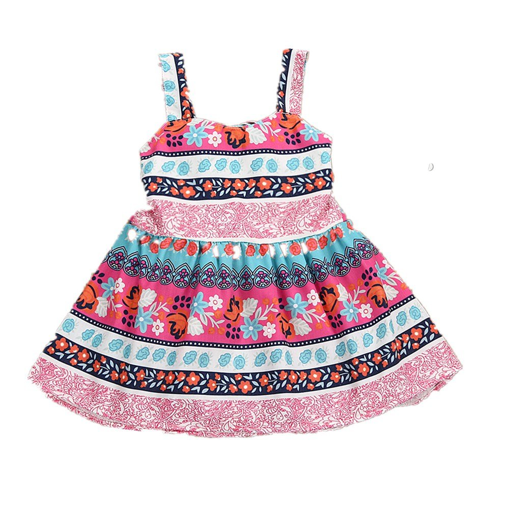 Camidy 1-5T Baby Toddler Girl Vintage Bohemian Floral Sundress Backless Strap Dress