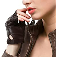 Nappaglo Vrouwen Rijden Lederen Handschoenen Nappa Leer Half Vingerloze Handschoenen Fitness Gevoerde Handschoenen voor…