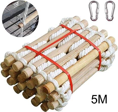 Escalera De Cuerda, Escalera de Cuerda de Escape de Incendio,3-50 Metros Escalera de Evacuación Emergencia para Adultos Niños,para niños con peldaños de Madera Ideal para Escalada, árbol, Casa,5m: Amazon.es: Deportes y aire