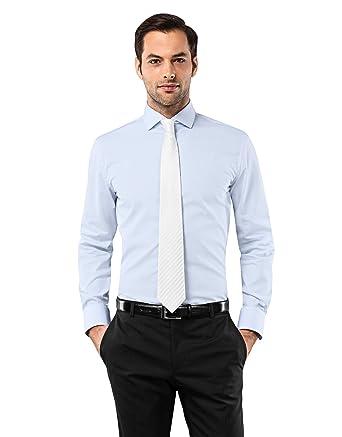 VB camisa para hombre Slim Fit tiburón cuello uni Non Iron azul ...