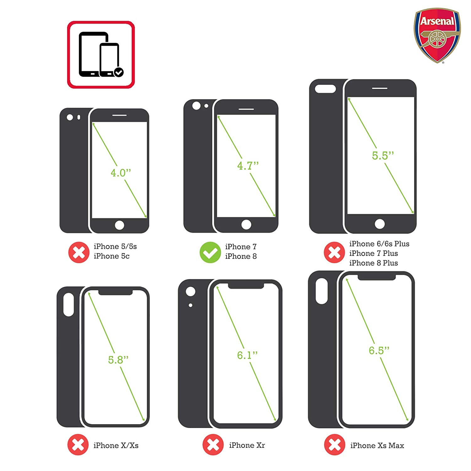 a646530e414 Amazon.com: Official Arsenal FC Fade 2016/17 Crest Hybrid Case for iPhone 7  / iPhone 8: Cell Phones & Accessories