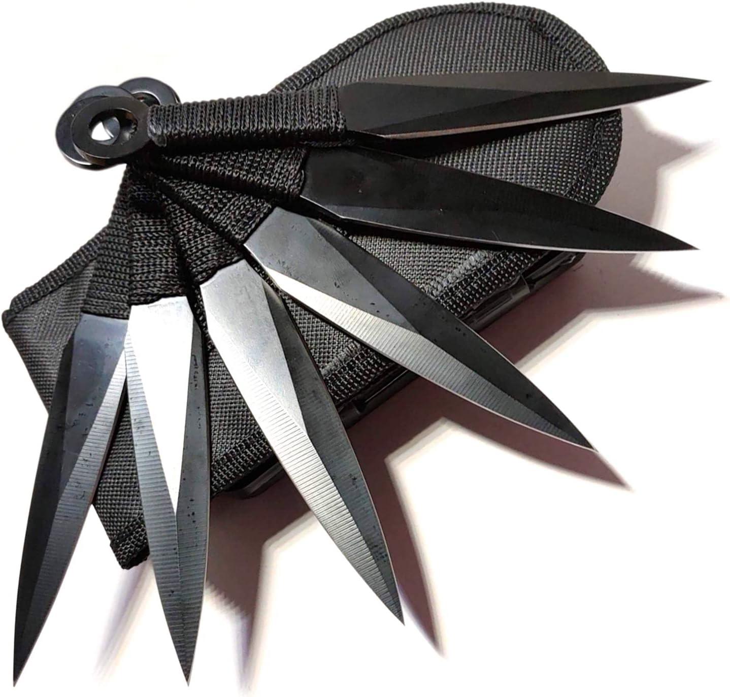 Avias Knife Supply 6 Piece Tactical Metal Throwing Knife Set Ninja Kunai The Expendables 6 piece (Black)