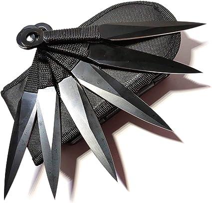 Avias Knife Supply 6 Piece Tactical Metal Throwing Knife Set Ninja Kunai The Expendables 6 piece Black
