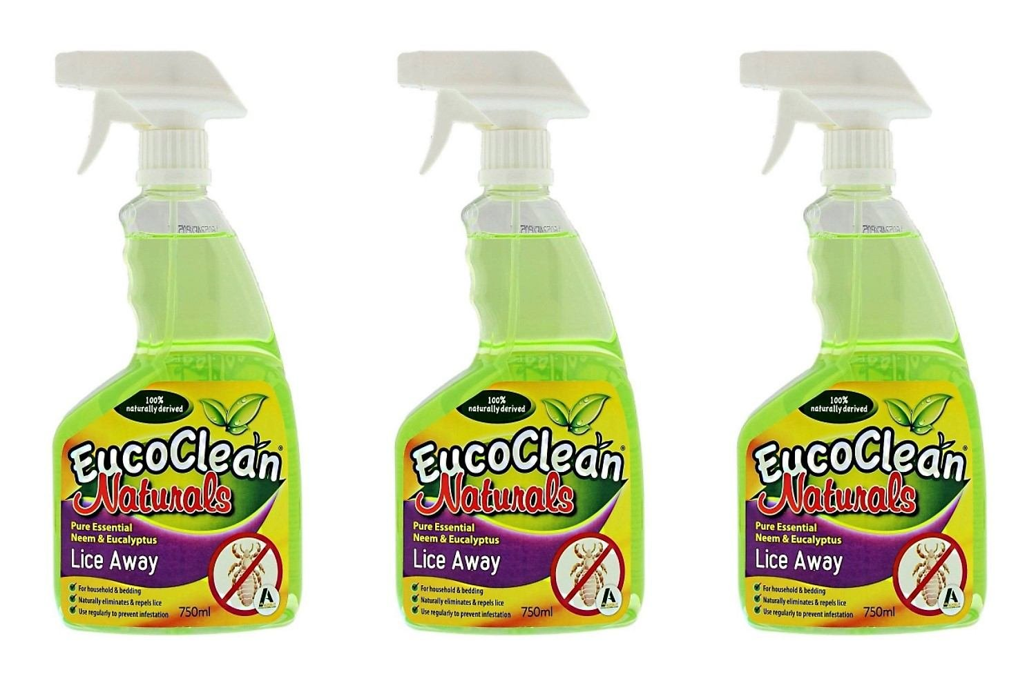 EucoClean Naturals Lice Away - Pure Essential Neem & Eucalyptus treatment for Home, Beds and More! Natural Ingredients eliminate, repel, and prevent lice. FAST! 25.4fl oz Spray Bottle (Pack of 3)