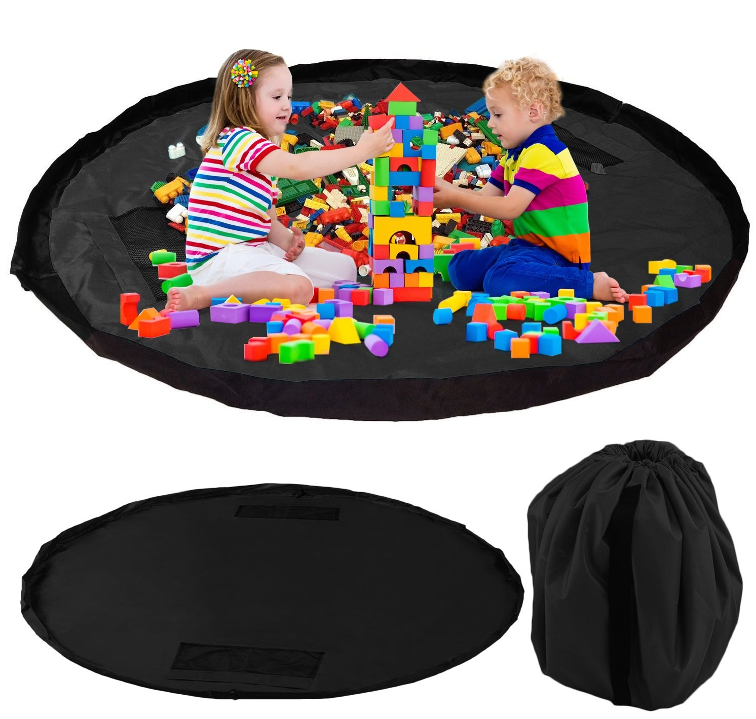 Kinder Aufräumsack zur Spielzeug Aufbewahrung – Tasche, Matte, Beutel & Spieldecke für Kinderzimmer – Spielzeugsack, Spielsack & Aufbewahrungssack – 150cm Spielmatte ideal für Weihnachten Chuckle