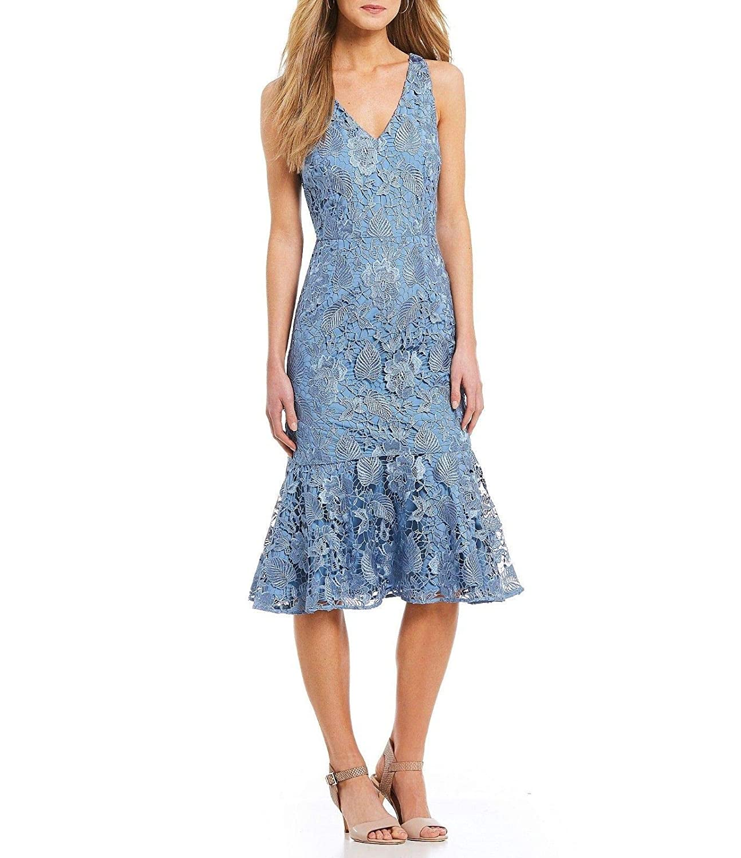 55378c36a94 Antonio Melani Skyler Lace Midi Dress (2) Azure Blue at Amazon Women s  Clothing store