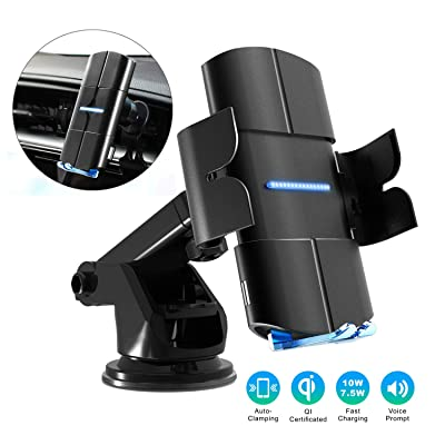 Ritastar Wireless Car Charger Mount,10w Qi Fast Charging,Auto Clamping,Windshield Dashboard Air Vent Phone Holder for iPhone 11/11 Pro/11 Pro Max/XS Max/XS/XR/X/8/8 plus,Samsung S10/S10+/S9/S9+/S8/S8+ [5Bkhe1000785]