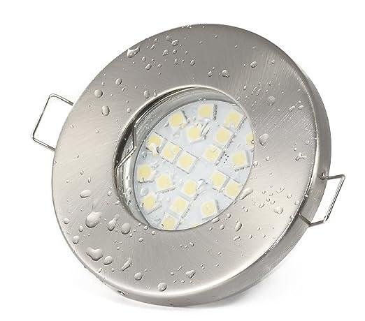 Foco empotrable para baño, 12 V, IP65, color: acero inoxidable cepillado |