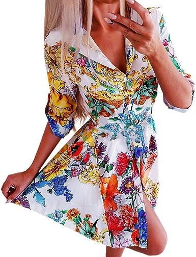 WINWINTOM Vestidos Camiseros Mujer Flores Cuello en V Manga Larga Casual Cintura Alta Vestidos Cortos 2020 Vestido de Noche de Coctel de Fiesta en Oferta Ropa Falda ...