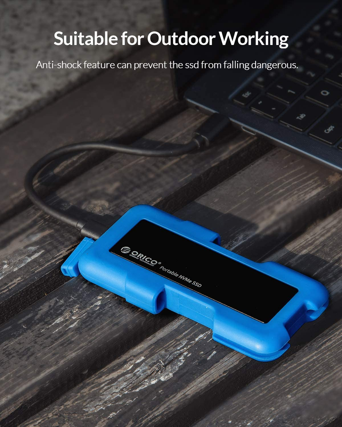 ORICO 10Gb//s Portable External Solid State Drives M.2 NVME SSD Outdoor Shockproof Crushproof Hard Drive Rugged Flash Drive USB C for PCs Xbox Blue-1T PS4 and More Macs