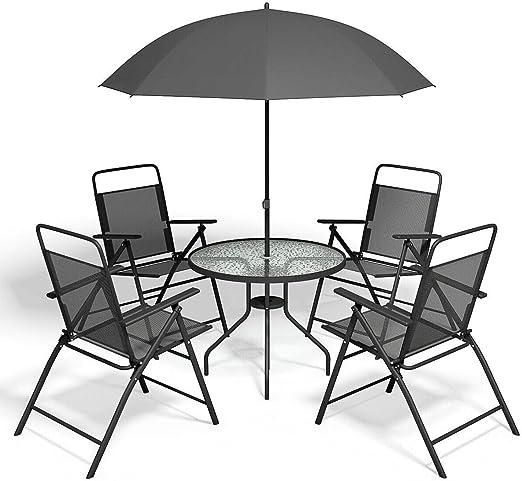Lapha Mesa Redonda de Acero Templado de Vidrio para 4 sillas para Piscina, Playa, Patio, jardín, 4 sillas Plegables con sombrilla, Gris, Juego de 6 Piezas: Amazon.es: Juguetes y juegos