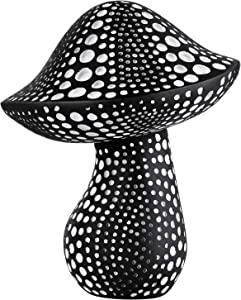 Mushroom Statue Decor (Black) Small Crafted Figurines for Home Decor Accents, Living Room Bedroom Bathroom Office Decoration, Book Shelf TV Stand Ornament - Decorative Sculptures Collection BFF Gifts