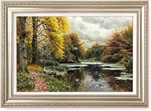 DECORARTS - River Landscape 1903, Peder Mork Monsted Classic Art Reproductions. Giclee Prints& Museum Quality Framed Art for Wall Decor. Framed Size: 36x26