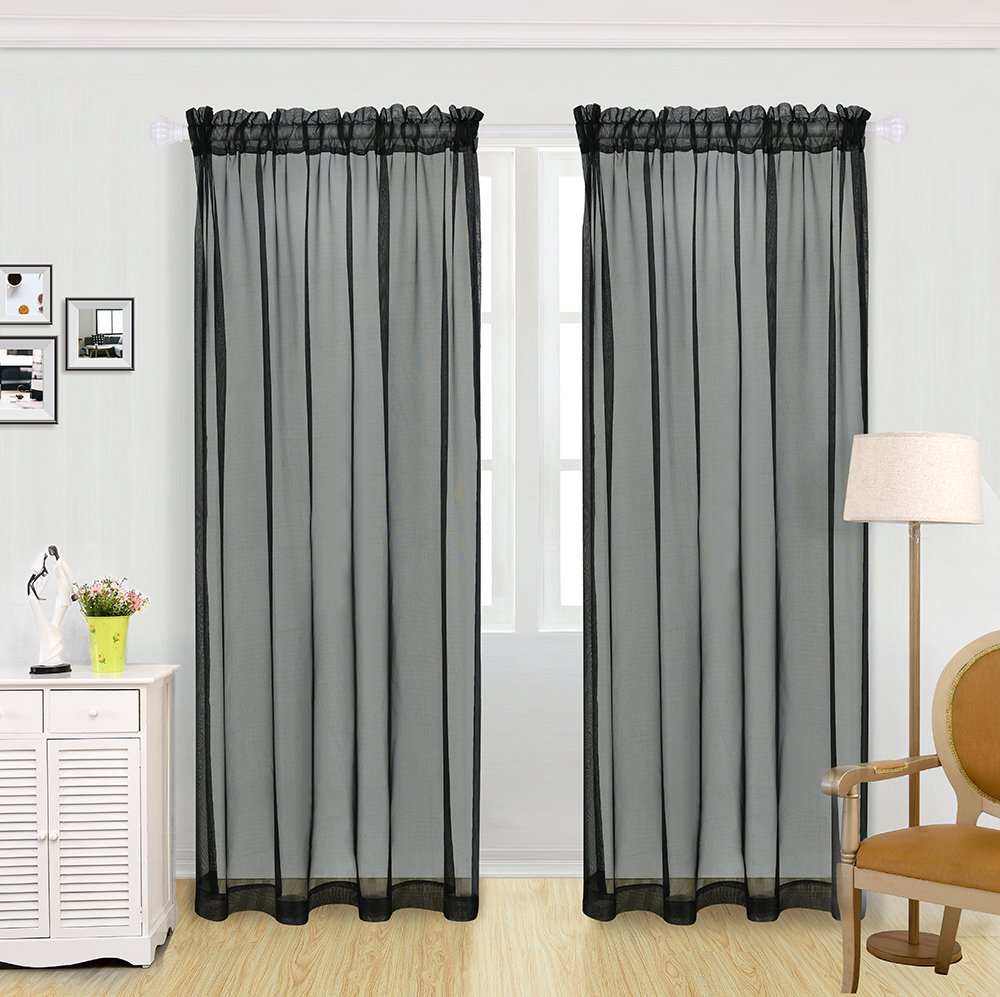 KEQIAOSUOCAI 2 Panels Solid Color Sheer Rod Pocket Curtains Panels For Bedroom Living room Black
