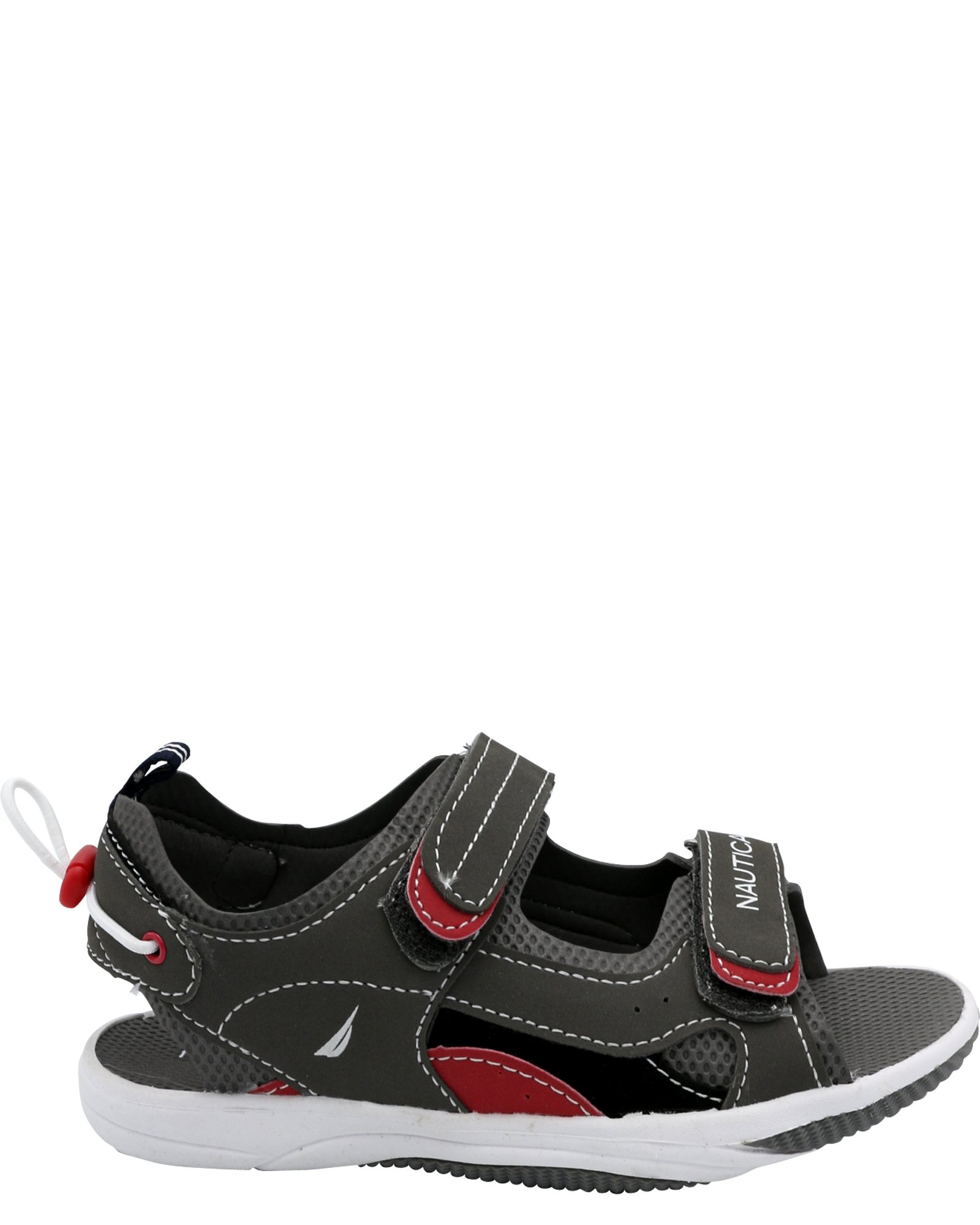 Nautica Kids Jamestown Sports Sandals, Open Toe Athletic Beach Water Shoes-Green/Red/Black-1