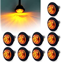 """"""" Purishion 10x 3/4"""""""" Round LED Clearence Light Front Rear Side Marker Indicators Light for Truck Car Bus Trailer Van…"""