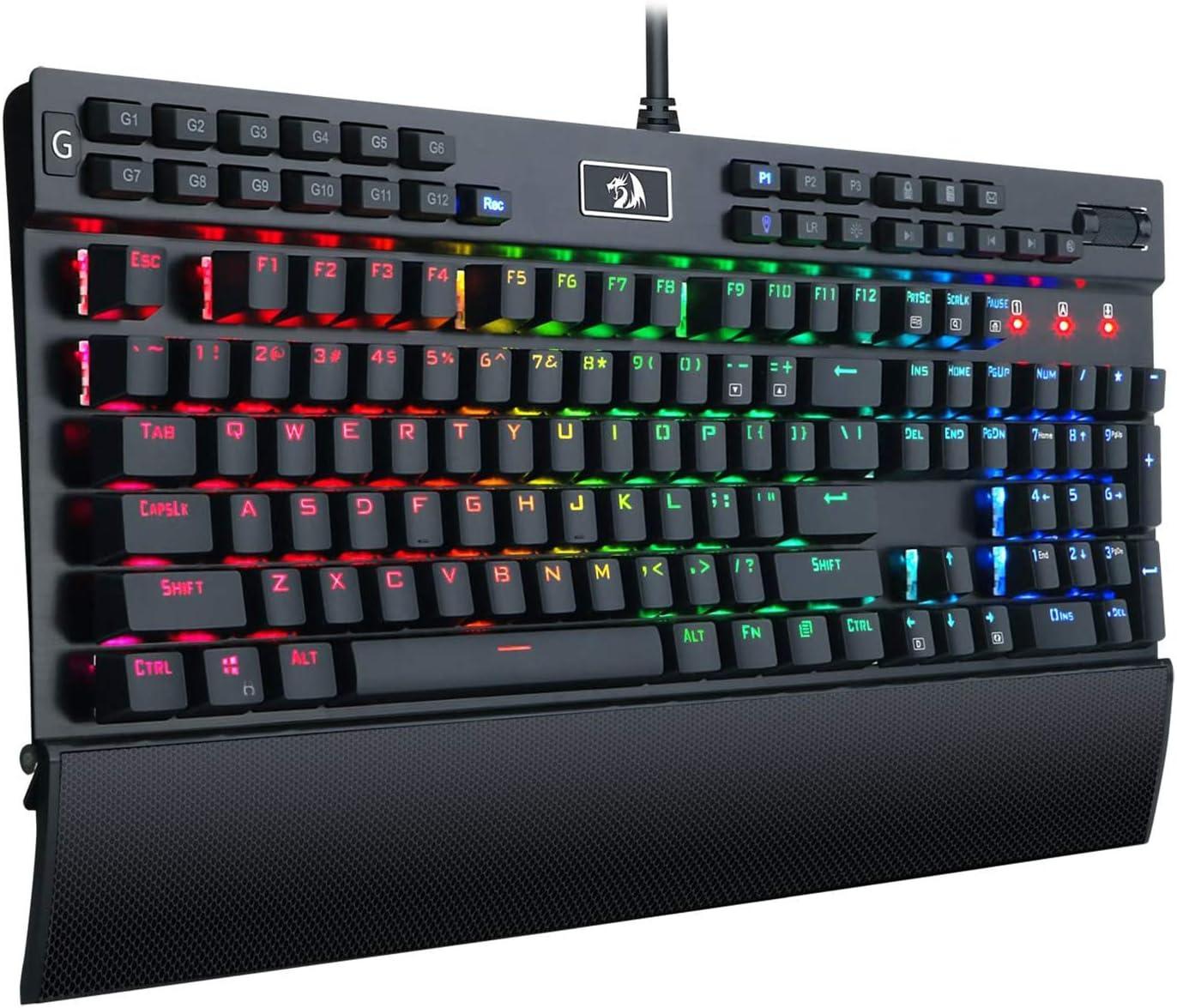 Redragon K550-SPS YAMA, Teclado Mecánico Gaming, RGB, Aluminio, Switches Outemu Purple, Rueda de volumen, reposamuñecas, Puerto USB, 12 Teclas Configurables, Distribución España - Negro - PC Windows