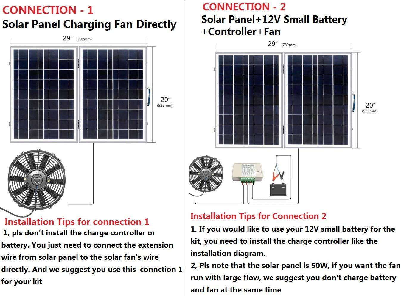 Amazon.com: ECO-WORTHY 50W Solar Panel with Powerful 80W 12 inch Solar  Attic Fan and 2pcs 7Ah Battery Backup, Cools and Ventilates Your House,  Bathroom, Kitchen, Garage or RV and Protects Against Moisture:Amazon.com