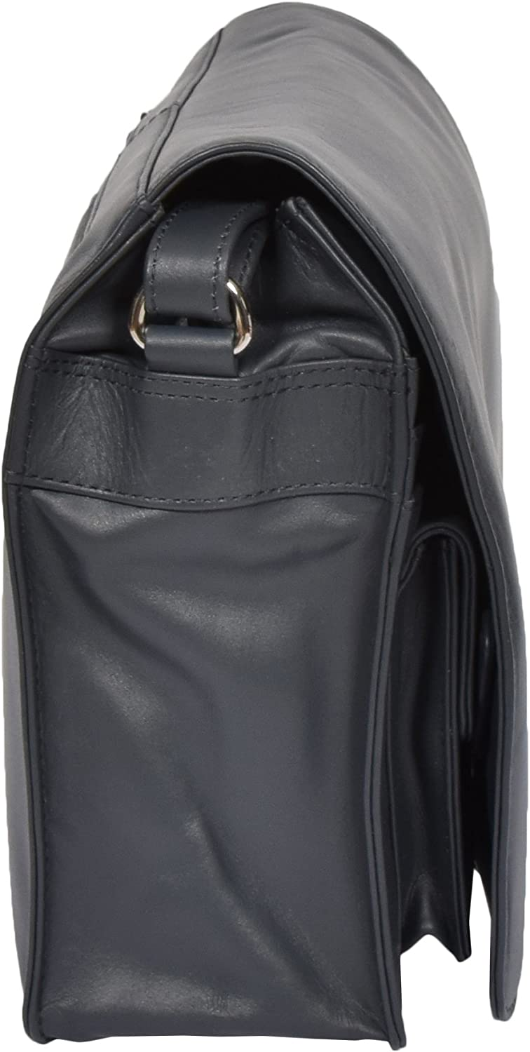 Ladies Real Leather Flap Over Shoulder Bag Classic Casual Cross Body Messenger Bag - Jill Navy