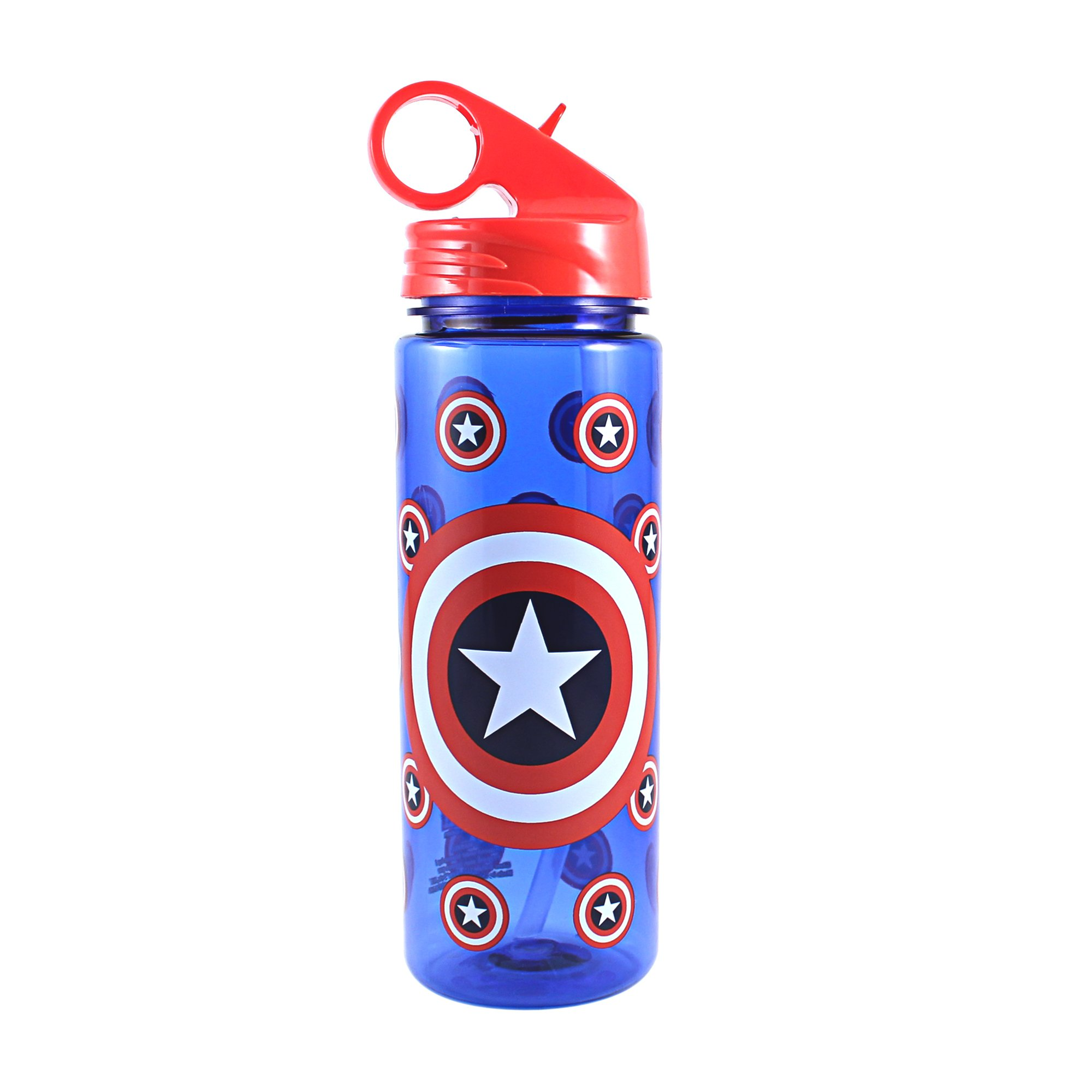 Silver Buffalo ME0264 Marvel Captain America All Over Logo Tritan Water Bottle, 20-Ounces
