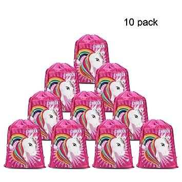 Konsait Lot 10 Unicornio Bolsa de Cuerdas Gymsack Poliéster Bolsa de Hombro Casual Linda Colegios Mochilas para Infantiles Niñas Regalos piñata ...