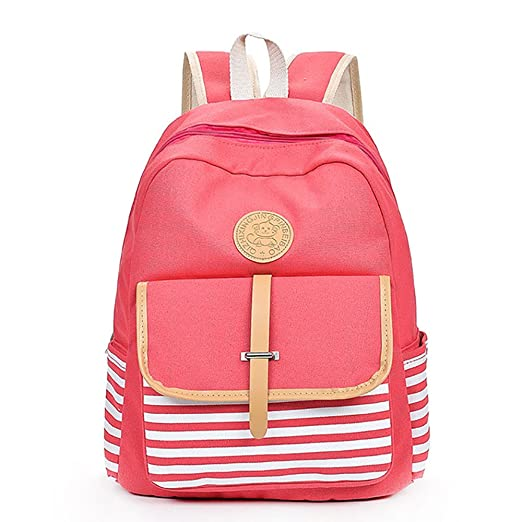 Womens Causal Travel Canvas Rucksack Backpacks for Girls College Stripe  Bookbag Yamally (one Size, 528002f9f3