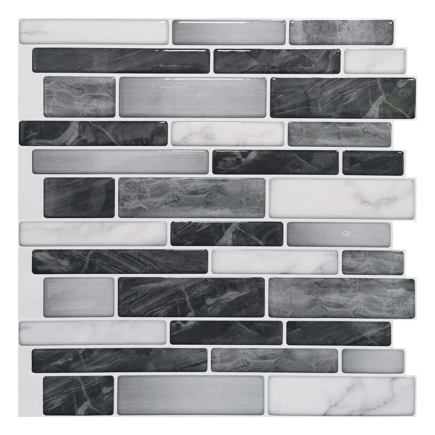 "Art3d 10-Sheet Self-Adhesive Tile Backsplash for Kitchen, Vinyl Decorative Tiles, 12""x12"""