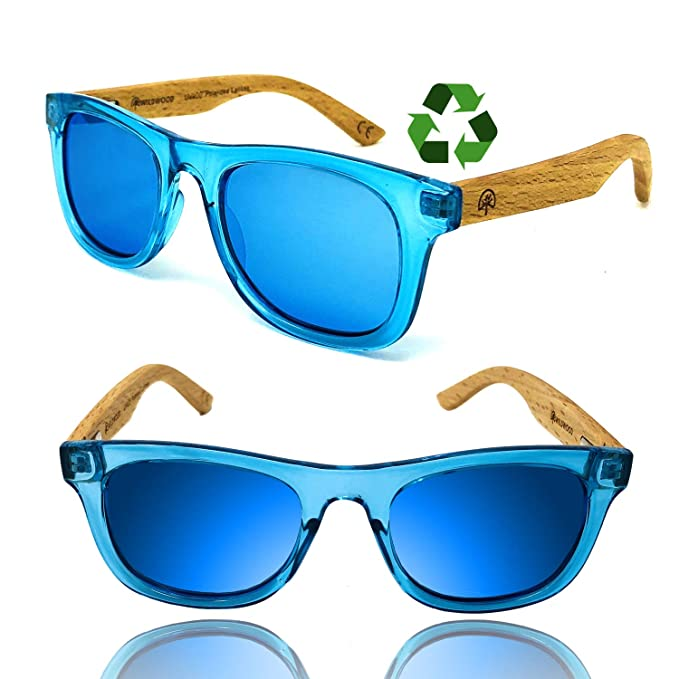 a0b5003abcc7 Kids Polarised Sunglasses for Boys and Girls with Recycled Frames and Beech  Wood Arms (Blue Mirror): Amazon.co.uk: Clothing