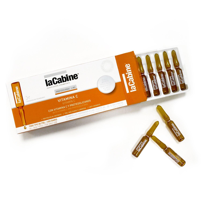 La Cabine Ampollas Vitamina C Facial - 10 Ampollas | Corrector Ojeras | Protector Solar - Previene síntesis de melanina | Antioxidante y Antiarrugas ...
