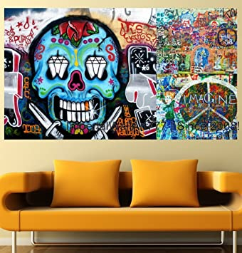 ImperialWallArt777 Graffiti Wall Decal Photo Collage Vinyl Sticker, Banksy  Street Art U2013 Ghost Print,
