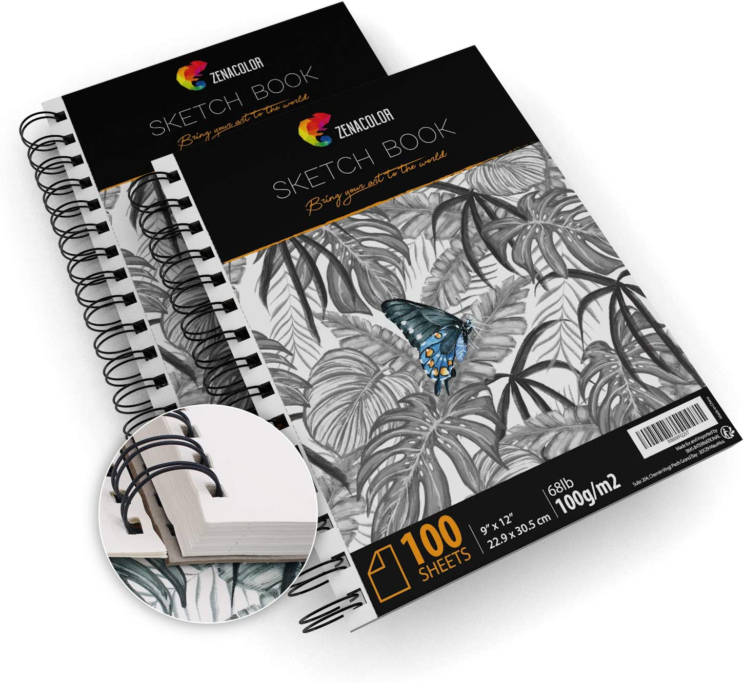 """200 Sheets, Professional Sketch Book Set, 9""""x12"""" with Spiral Bound - 2 x Sketch Pad with White Drawing Paper (100 g) - Blank Artist Sketchbook with Hardback Cover, Easy Tear Out for Drawing Pad"""