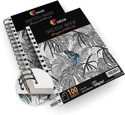 "Pack de 2 x Bloc de Dibujo Profesional, A4 (9""x12"") con Espiral - 200 x Hojas"