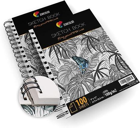 "Pack de 2 x Bloc de Dibujo Profesional, A4 (9""x12"") con Espiral ..."