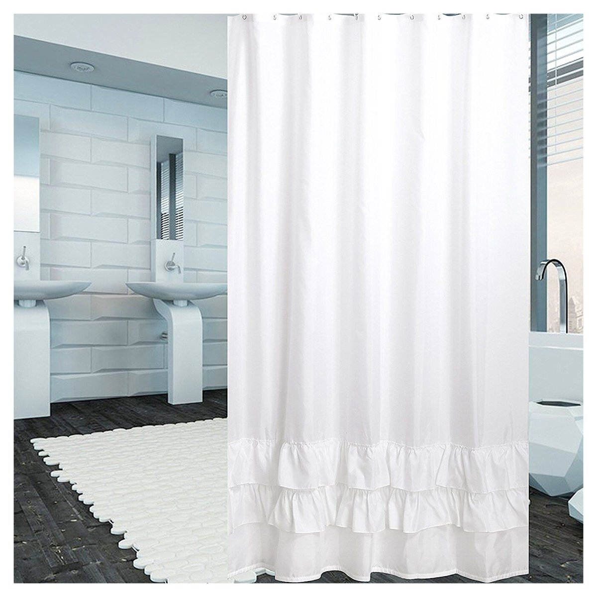 Amazon YUUNITY Ruffle Shower Curtain Polyester Fabric Mildew Resistant Anti Bacterial Non Toxic Washable 72x80 White Home Kitchen