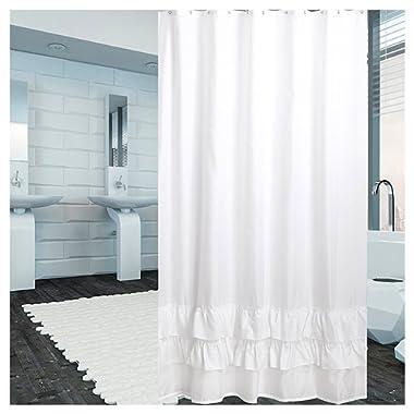 YUUNITY Ruffle Shower Curtain Polyester Fabric Washable, 72x80-White