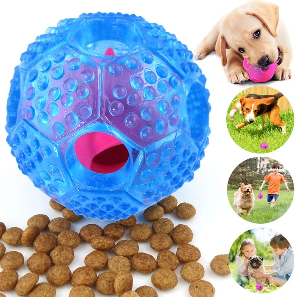 CHLEBEM Interactive Dog Toys, Dog Chew Toys Ball for Small Medium Dogs, IQ Treat Boredom Food Dispensing, Puzzle Puppy Pals Tough Durable Rubber Pet Ball, Best Cleans Teeth Dog Balls (Blue) (Blue)