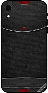 For iPhone XR Case Red Buttons On Black Leather Pattern