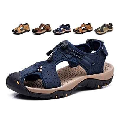 Asifn Closed Toe Men Outdoor Hiking Sandals Water Shoes Slides Traveling Walking Fishermen Leather Climbing Summer | Sport Sandals & Slides