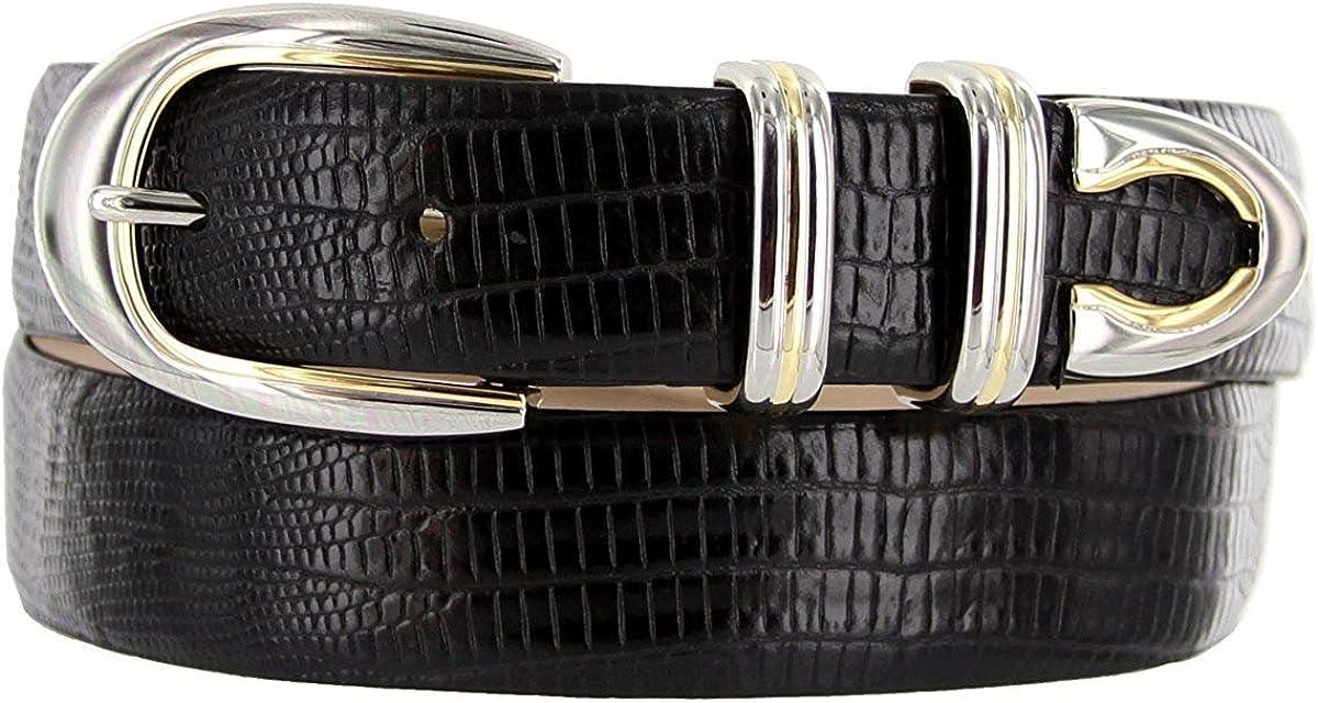 Pele Belt Men 30 mm Wide Italian Calfskin Silver /& Gold Modern 4 Piece Buckle